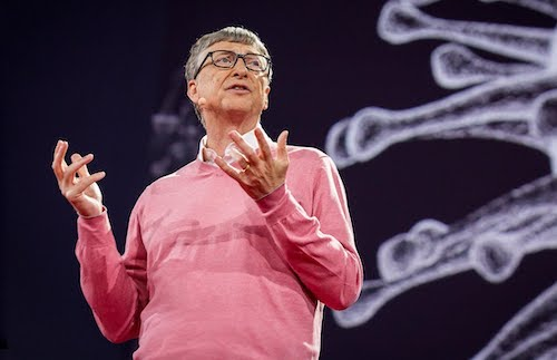 Bill Gates delivering TED Talk about pandemic response