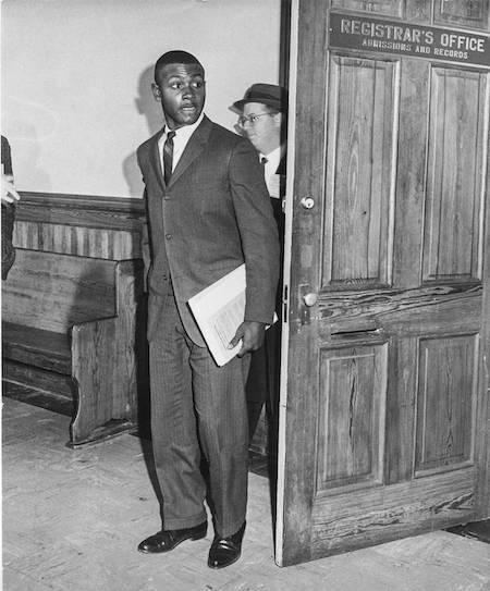 Harvey Gantt's first day at Clemson on January 28, 1963. Image via Clemson Library.